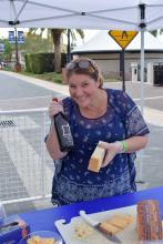 Tonda Corrente at her Wine and Cheese tasting booth at the Sight & Sole Walk