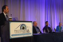 Speakers on stage at the Masters in Ophthalmology 2018 conference.