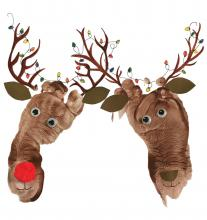 A painting by Raphaela of two Reindeer heads, one is Rudolph with a red nose