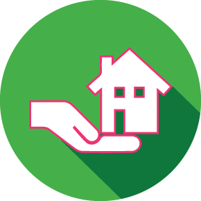 Image of a hand cradling a house representing real estate