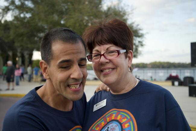 Picture of Lee and her son Joe together at the Sight & Sole Walk
