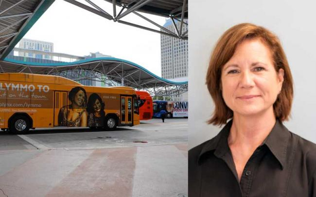 A dual image with an image of buses at the downtown LYNX station, and a headshot of Cathy Matthews to the right