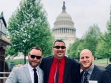 Brian with Lighthouse President Kyle Johnson, and Lighthouse Vice President Kaleb Stunkard in Washington DC in front of the Capital building