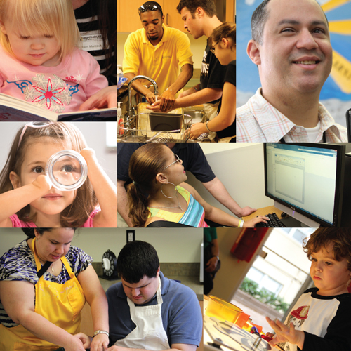 a collage of different clients interacting in different services and activities at Lighthouse